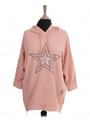 Italian Diamante Star Hooded Top With Side Zip Detail