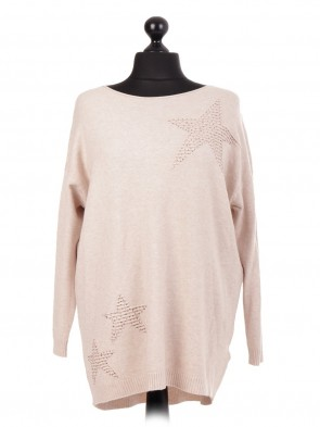 Italian Diamante Embossed Star Knitted jumper