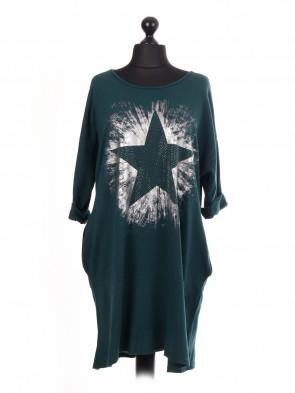 Italian Diamante Star Print Lagenlook Dress