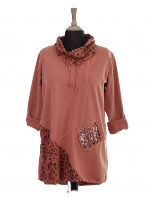 Italian Drawstring Cowl Neck and Elasticated Hem Top With Front Sequin Pocket