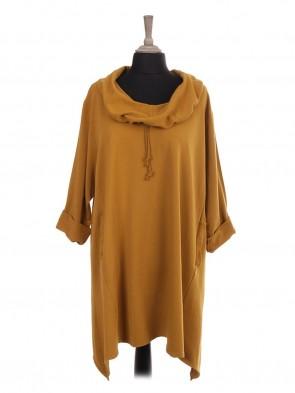 Italian Drawstring Cowl Neck Tunic Dress With Pockets