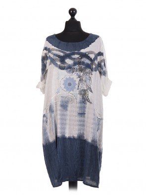 Italian Dyed Floral Pearl Embellished Dress