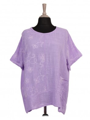 Italian Embroidered Panel Front Pocket Top
