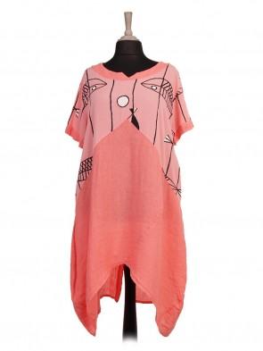 Italian Fish Print Linen Lagenlook Dress With Back Button Panel