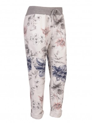 Italian Floral Print Cotton Trousers with Side Pockets