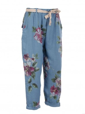Italian Floral Print Linen Trouser