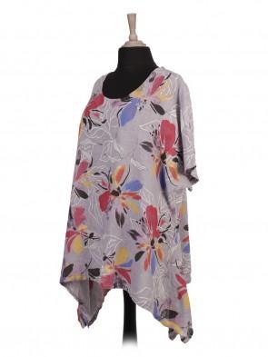 Italian Floral Print Linen Tunic Top