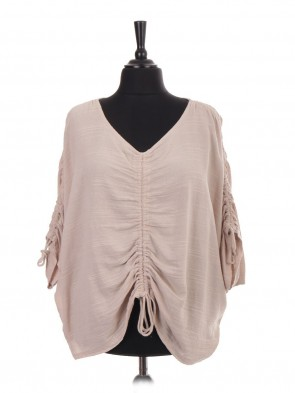 Italian Front And Arm Ruched Detail Batwing Top