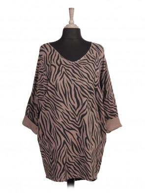 Italian Glittery Trim V-neck Zebra Print Top