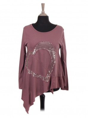 Italian Heart Sequin Patch Asymmetrical Hem Top