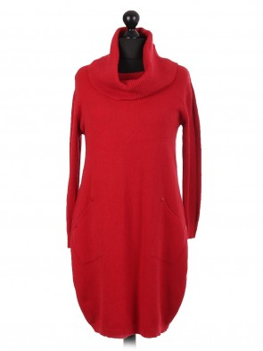 Italian Knitted Cowl Neck Long Lagenlook Jumper