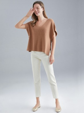 Italian Knitted V-neck Jumper With Side Button Fastening