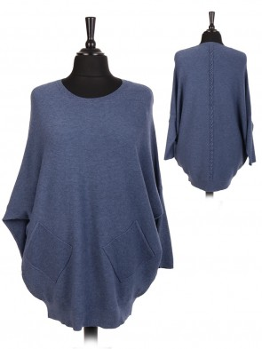 Italian Lace Back Batwing Jumper With Front Diagonal Pocket
