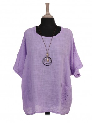 Italian Lace Detail Batwing Top With Necklace