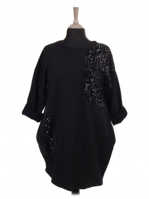 Italian Lagenlook Sweat Top With Sequin Detail and Side Pockets