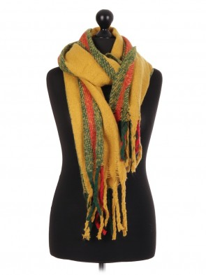 ladies Italian Lana Wool Mix Stripe Pattern Scarf