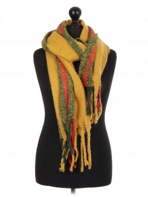 ladies Italian Lana Wool Mix Stripe Pattern Scarf