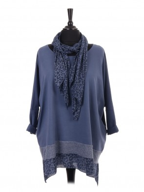 Italian Leopard Print and Glittery Panel Batwing Top with Scarf