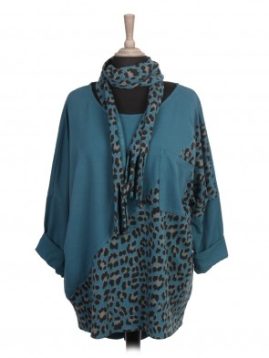Italian Leopard Print Batwing Top with Scarf