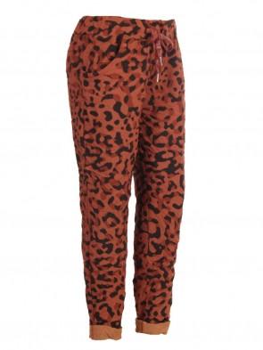 Plus Size Italian Leopard Print Cotton Magic Pants