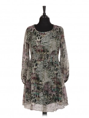 Italian Leopard Print Two Layered Elasticated Waist Silk Dress