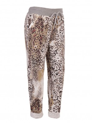 Italian Leopard Print Trouser With Side Pockets