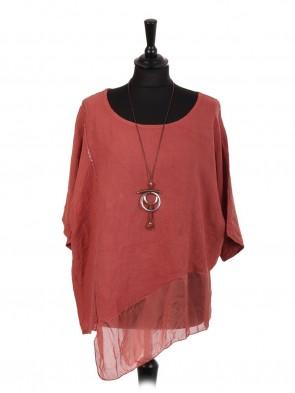 Italian Linen Assymetrical Chiffon Hem Top With Necklace