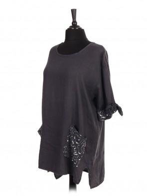 Italian Linen Crochet and Sequin Pocket High Low Top