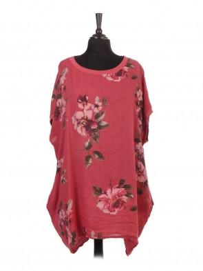 Italian Linen Floral Baggy Top