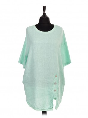 Italian Linen Front Button Panel Top With Side Pockets