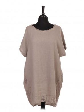 Italian Linen Lace Panel Lagenlook Dress With Back Split