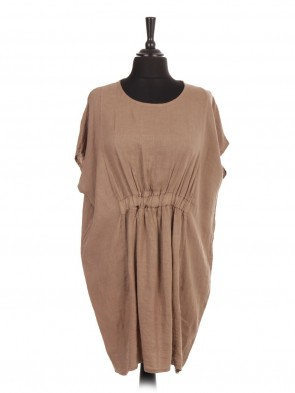 Italian Linen Lagenlook Dress With Elasticated Waist