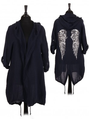 Italian Linen Sequin Angel Wing Hooded Jacket