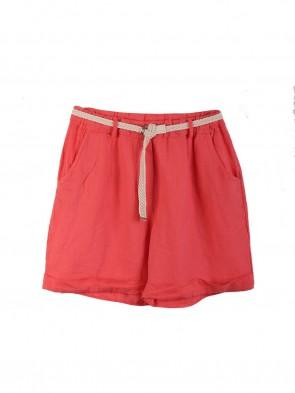 Italian Linen Shorts With Side Pockets And Waist Belt