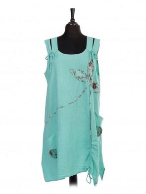 Italian Linen Sleeveless Ruched Hem Applique Lagenlook Dress With Front Pockets