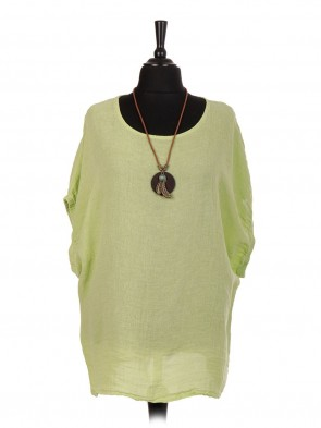 Italian Linen Top With Necklace and Elasticated Sleeves
