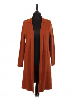 Italian Longline Knitted Jacket With Diagonal Pockets