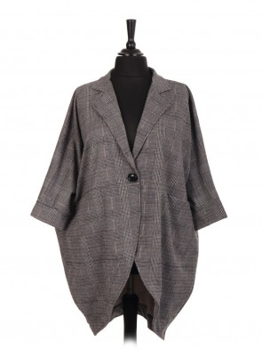 Italian One Button Check Pattern Batwing Coat