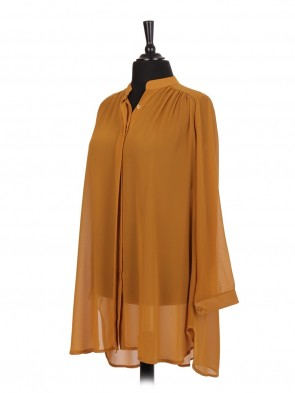 Italian Plain Blouse With Front Button Fastening
