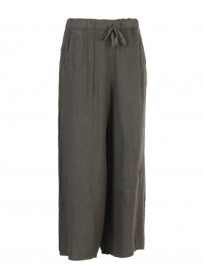 Italian Plain Linen Culottes With Side Pockets