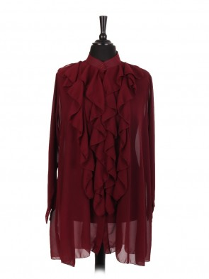 Italian Plain Ruffle Blouse With Front Button Fastening