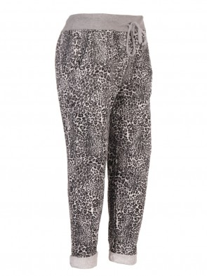 Plus Size Italian Animal Print Cotton Trousers With Side Pockets