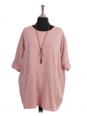 Italian Plus Size Cotton Top With Front Pockets And Necklace