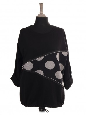 Italian Polka Dot Drawstring Hem Top With Zip Detail