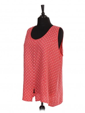 Italian Polka Dot Print Sleeveless Top With Split Hem
