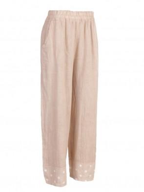 Italian Printed Hem Linen Palazzo Pants With Side Pockets