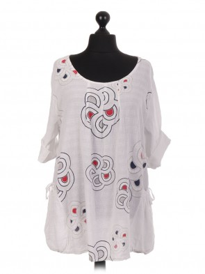 Italian Printed Lagenlook Top With Elasticated Side Pockets
