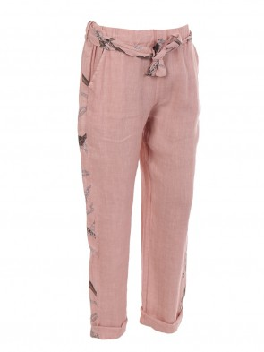 Italian Printed Side Panel Linen Trouser With Side Pockets