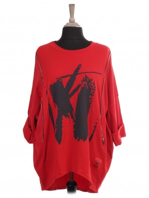 Italian Red Label Abstract Print Dip Hem Sweat Top With Side Zip Detail