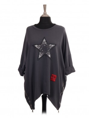 Italian Red Label Embroidered And Sequin Star Top